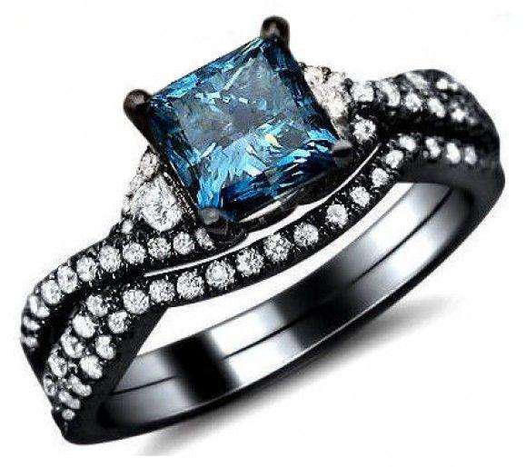 1.50ct Blue Princess Cut Diamond Engagement Ring Bridal Set 18k Black Gold Front Jewelers