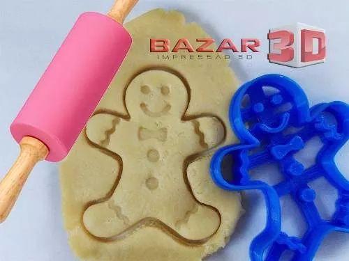 cortador de biscoito de natal gingerbread feliz mod2 - 3d