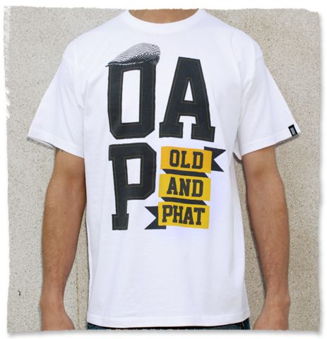 Old And Phat - O.A.P | Not Too Shabby Clothing  This is for you ageing hip hoppers out there. Keep it fresh with your old school styles in our OAP range.  Original Screen Print onto High Quality, 185g, 100% Cotton T shirt with woven detail.