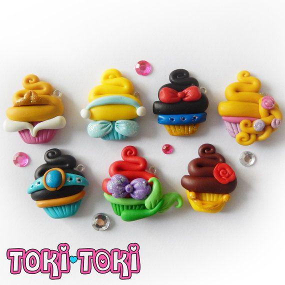 Fairy Tale Princess Cupcake Charms Polymer Clay by MadeByTokiToki