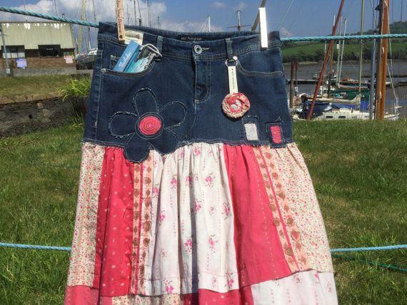 Vintage patchwork inspired upcycled refashioned denim jeans into a skirt, retro style hippy, boho, festival, beach, UK size 10