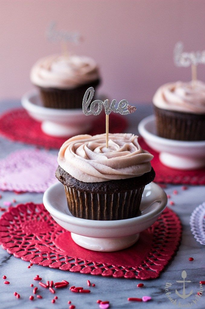 Valentine's Chocolate Cupcakes with Strawberry Buttercream Frosting   The Beach House Kitchen