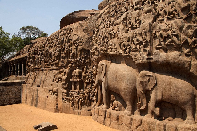 The Pallava dynasty artifacts in Mahabalipuram, 50 kms from Chennai, India.