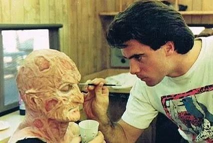 Working on Freddy's make up for Freddy's Dead: The Final Nightmare.