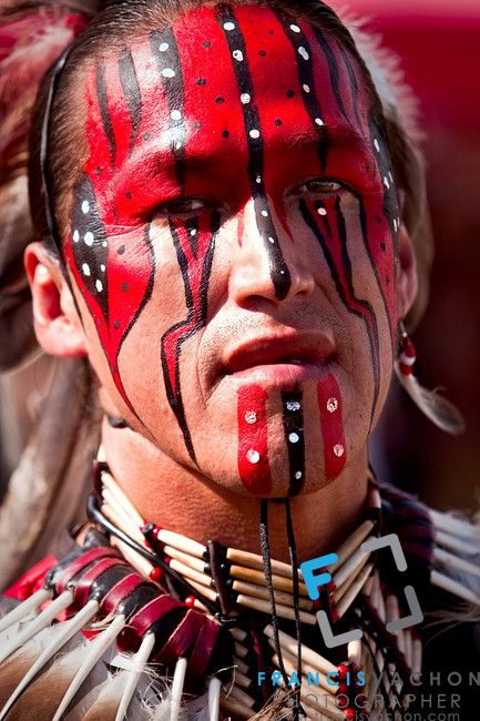Gerry Hunter, a native of Lac-Simon indian Reservation and wearing Algonquin traditional dresses and paint, takes part into the dance contest of Wendake Pow-Wow July 31, 2010.