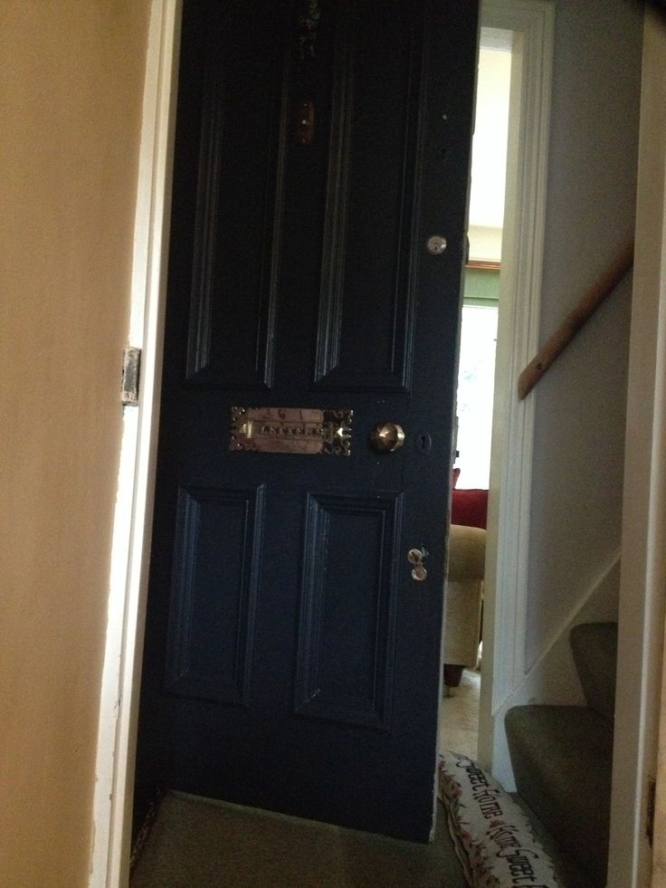 front door in farrow and ball railings with vintage brass letter box cover - Letter Box Covers