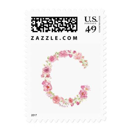 C Initial Floral Monogram Postage Stamp - bridal shower wedding marriage party bride idea