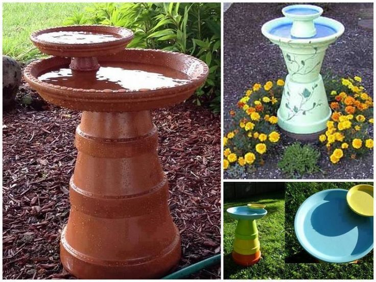 diy clay pot bird bath #diy #bird bath
