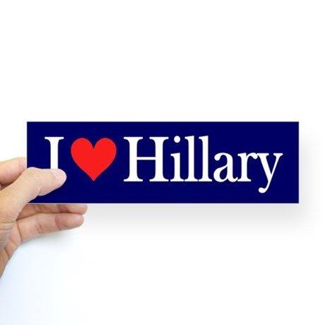 I Love Hillary Bumper Bumper Sticker on CafePress.com