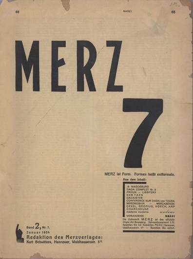 Cover for Merz 7 Kurt Schwitters, 1924