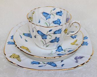 Royal Albert Butterfly and Bluebell Trio Set, Royal Albert Crown China 3 piece Set, Royal Albert Teacup, Saucer and Sandwich Plate