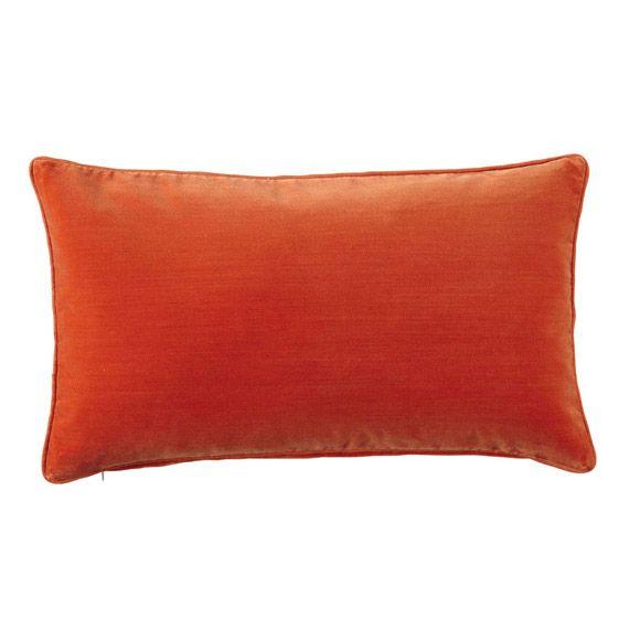 Velvet Cushions - Plain Covers in  Jewel Colours - orange - livingroom - okadirect.com
