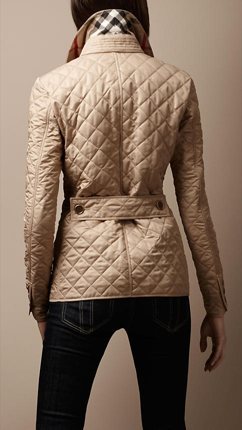 Burberry - CINCHED WAIST QUILTED JACKET- in Chino,red,black,navy & trench.: