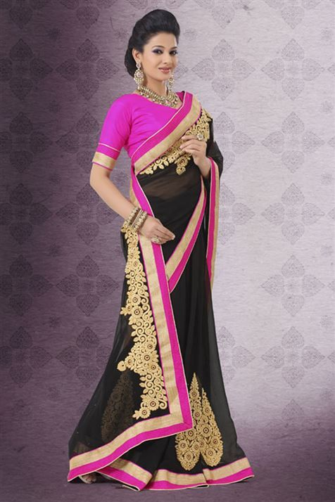 Splendid Black Georgette Party Wear Embroidered Saree