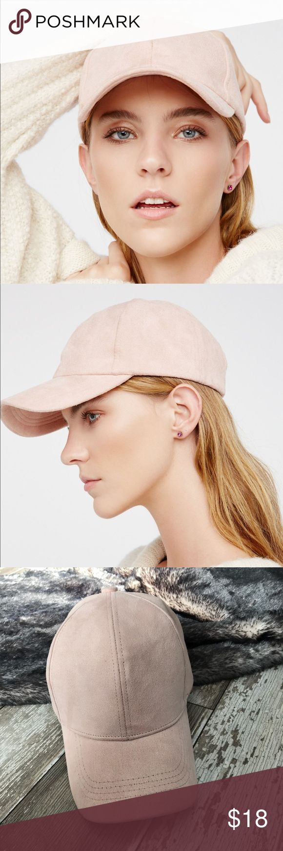 FREE PEOPLE | Light Pink Baseball Cap A Free People Baseball Cap in light pink suede. Worn twice! Free People Accessories Hats