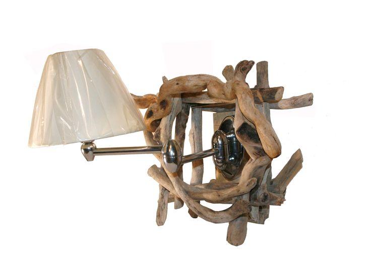 Ξύλινη Απλίκα. Φωτιστικό τοίχου με σπαστό μπράτσο φτιαγμένη με Ξύλα θαλάσσης και ύφασμα. Driftwood wall lighting with lampshade.