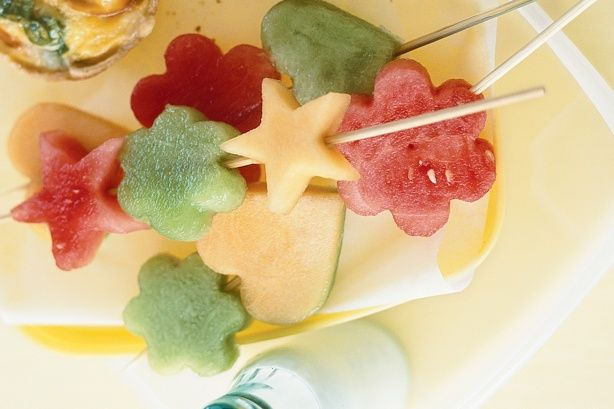 The kids will love creating their own uniquely shaped fruit wands: Melon Fruit Wands