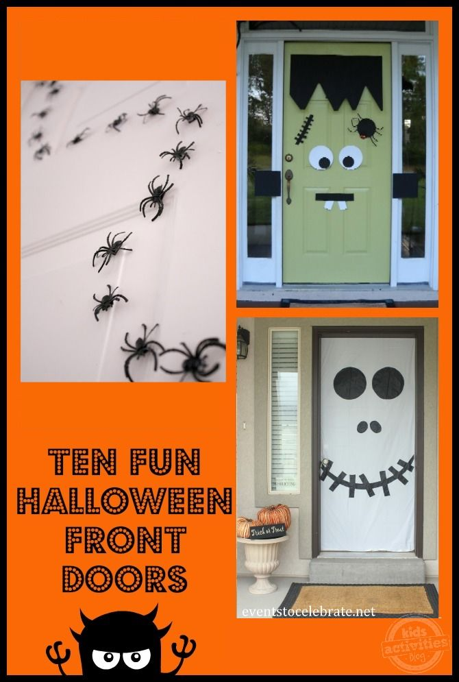 10 fun halloween front doors that are easy to make!