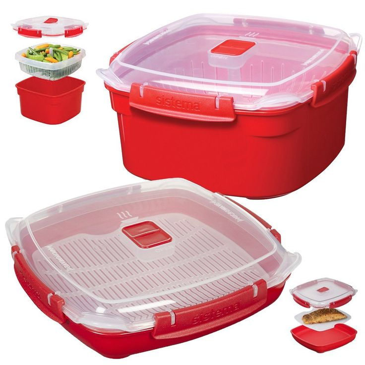 2 Sistema Klip It Microwave Steamer Food Storage Container Tray Vent Locking Lid -- Be sure to check out this awesome product.