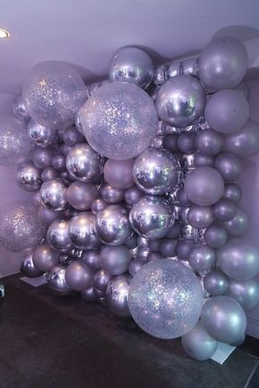 Silver balloon wall background - #background #balloon #silver - #DecorationGraduation