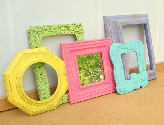 Frames from thrift stores painted and will add daughters own art...love this blog!