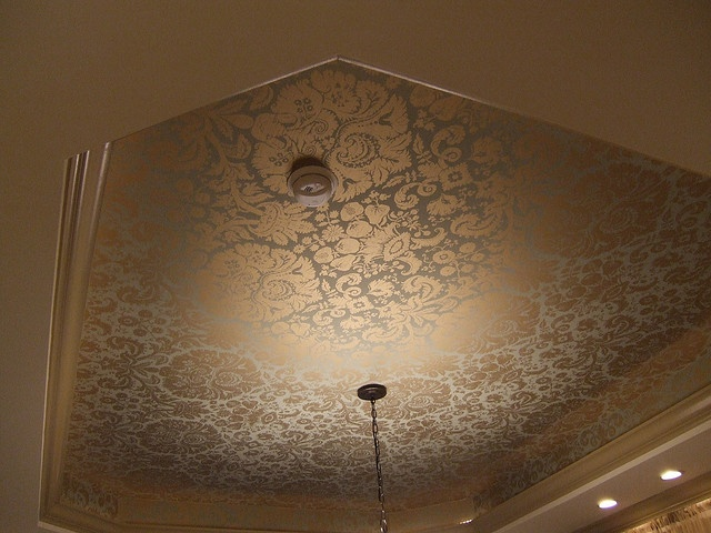 I love wallpaper on the ceiling.  Plus, due to the metallic sheen it looks great against the light fixture.