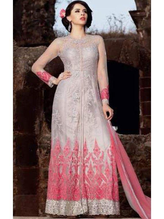 Intese Grey and Pink Anarkali salwaar suit