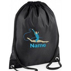 Personalised Childrens Gym Bags are Personalised by Embroidering your childs name and Gymnastics  image onto Drawstring Gym Bag #baby #newborn #dance# gymbags #gym #children #kids #sport #gymnastics #personalised #gifts #kids