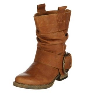 @Overstock - A brushed goldtone buckle and faux-wood sole highlight these rugged leather slouch boots from Steve Madden. These cognac leather ankle boots are finished with a slouchy construction, slightly padded footbed and easy pull-on styling.http://www.overstock.com/Clothing-Shoes/Steve-Madden-Womens-P-Axxle-Buckle-Slouch-Boots/6027930/product.html?CID=214117 $89.99