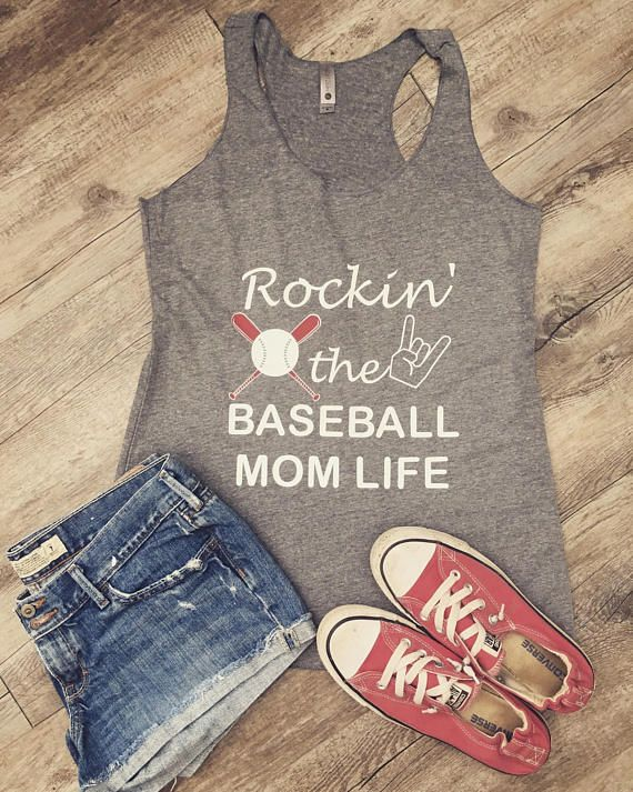 As a baseball mom we know the struggle; practice, games and driving back and forth. But its worth it and we rock it!  Shirt details:  50% polyester 25% combed ringspun cotton and 25% rayon jersey.  Fabric laundered for reduced shrinkage.  NOTE: If you desire a different color tank top