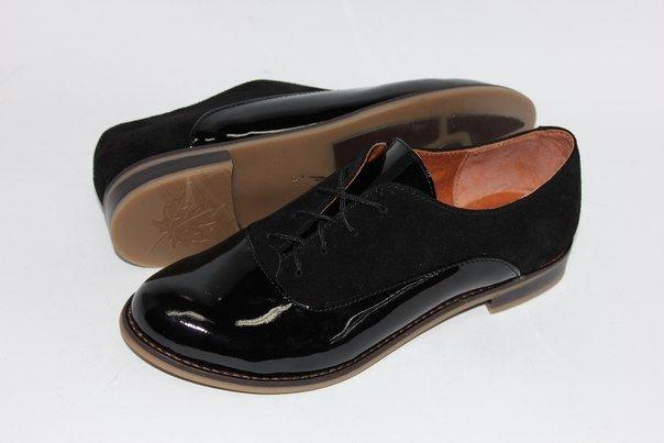 """Черные комбинированные туфли """"оксфорды"""""""