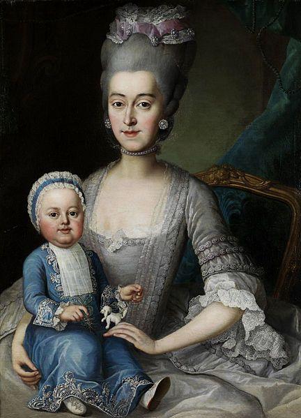 Johann Michael Millitz (attr) Portrait einer Dame mit Kleinkind