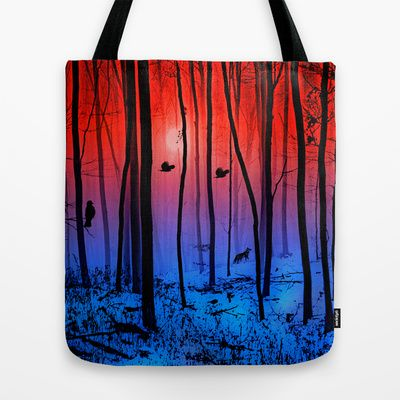 Mystical forest  Tote Bag by Pirmin Nohr - $22.00  strange light in the forest on a misty winter morning.   Animals, birds, fauna, season, fox, snow, blue, red, landscape
