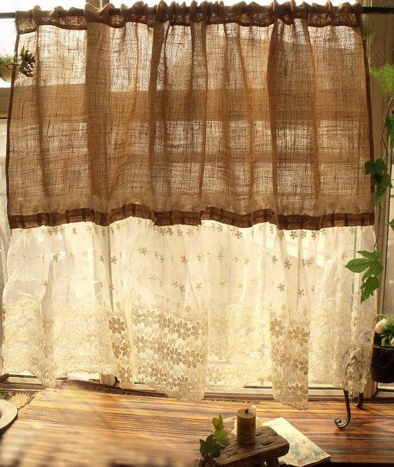 Custom Shabby French Country Chic ~ Burlap Curtain Panel Cream Lace Ruffles SWEET!