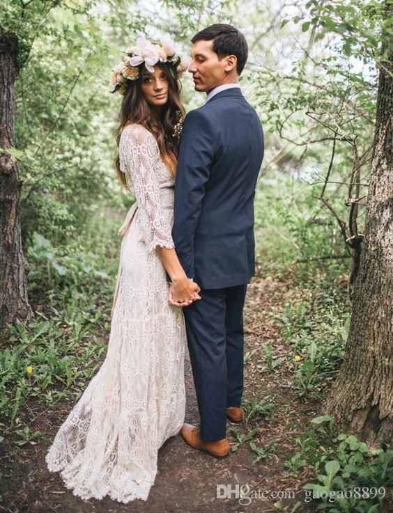 Vintage-Inspired Hippie Maxi Lace Bohemian Long Sleeve Wedding Dresses 2016 Crochet V-neck Beach Boho Cheap Wedding Gowns Plus Size