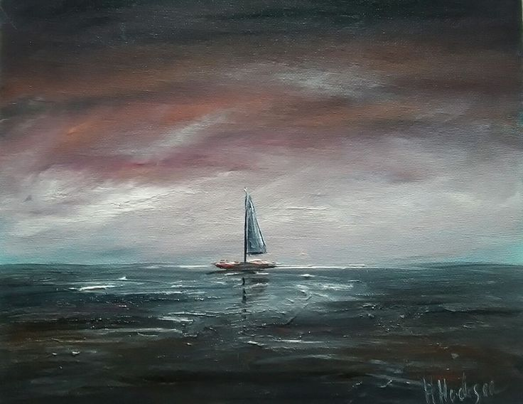 "Original Hand Painted Oil Painting Artist: Hayley Huckson Title: Lone sailor as dawn breaks Medium: Double primed canvas board / Artist Quality oil paints Size: 12"" x 10"" Date: August 2017 Frame: NO frame supplied Shipping: Royal Mail Certificate: Signed and dated on the day of purchase Payment: Paypal or pick up Origin: Hand painted in Wales UK, direct from the Artist 