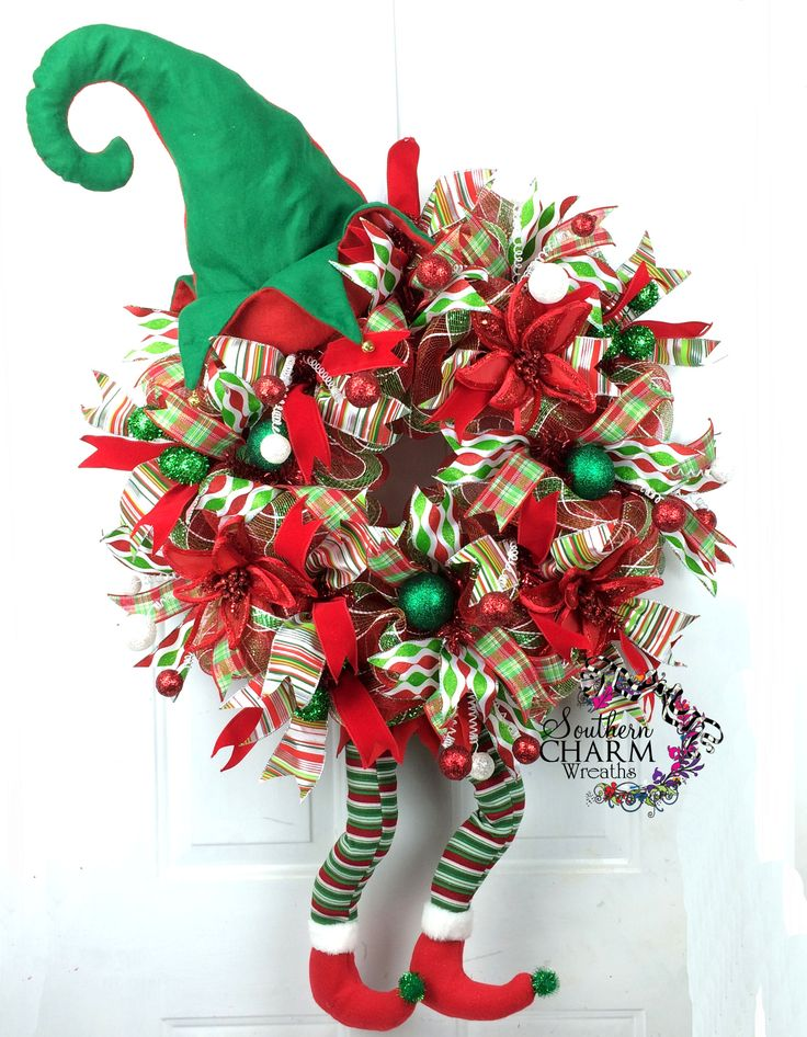 Learn To Make A Deco Mesh Elf Christmas Wreath Green Red