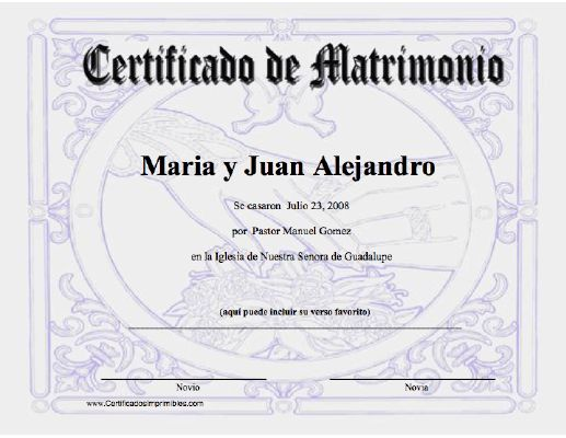 Acta De Matrimonio Catolico : Certificado de matrimonio para imprimir los certificados
