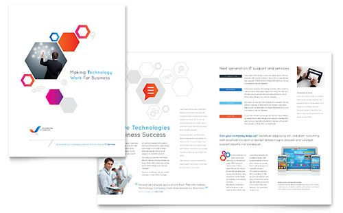 Free Information Technology Brochure Template Download from - pamphlet layout template