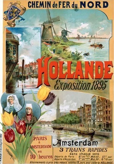 Vintage Railway Travel Poster -  Exposition Amsterdam - The Netherlands -1895.