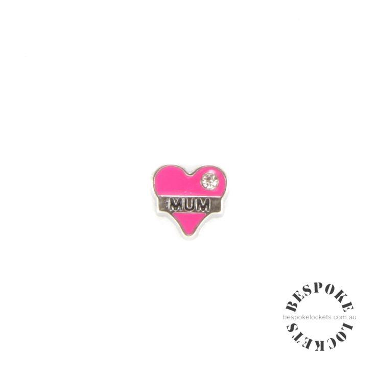 Pink Heart - Mum  - Floating Charm