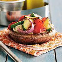 Open-Faced Grilled Portobello Mushrooms with Rosemary White Beans ~ Vegan