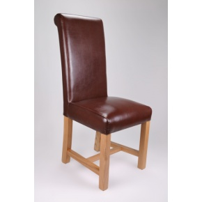 Richmond Bonded Leather Dining Chair Brown  www.easyfurn.co.uk