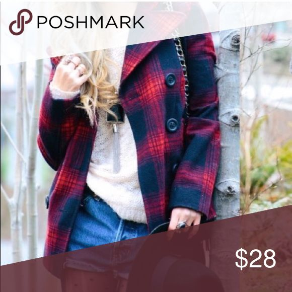 • Red Blue Plaid Vintage Style Old Navy Peacoat • Smooth lining; warm wool outer. This peacoat is stylish in more than one way. Classic jacket style with edgy red and blue plaid print. Old Navy Jackets & Coats Pea Coats