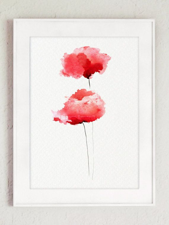 Poppies Watercolor Painting, Red Flowers Giclee Art Print, Living Room Decor Large Poster