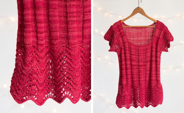 Feather and Fan Ribbed Tee free knitting pattern