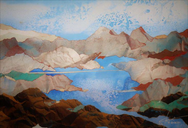 aquarelle collage sur papier kraft 35 x 50 cm Raymond GUIBERT.2016