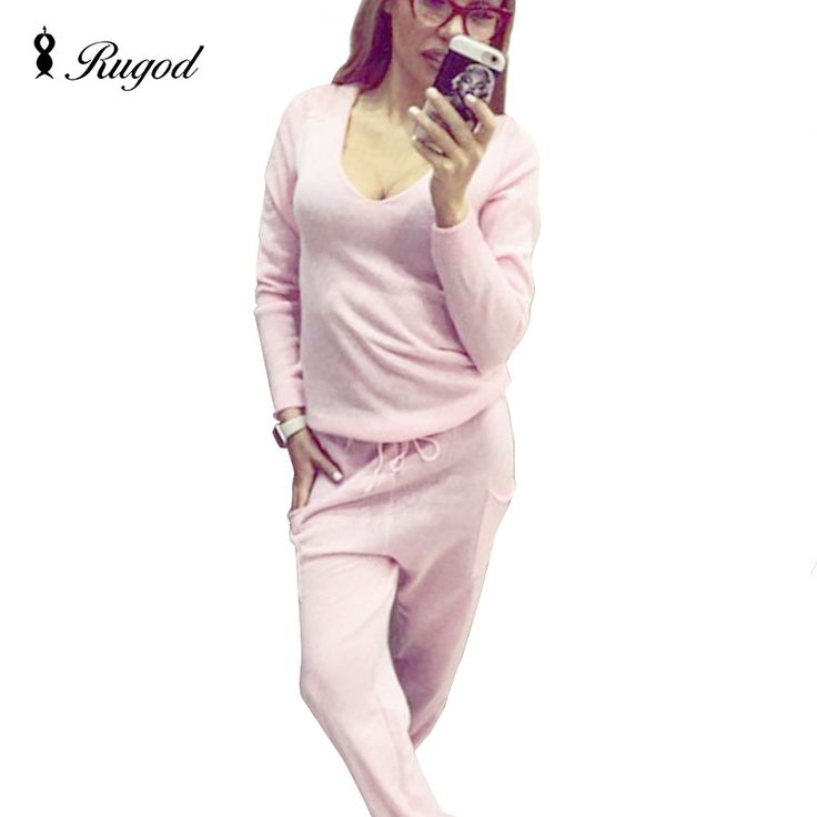 2017 Hot 2 Pieces Set Women V-Neck Sexy Knitted two pieces sets Spring Suits Tracksuit Sweater top+ Pants Set Womens Casual Suit