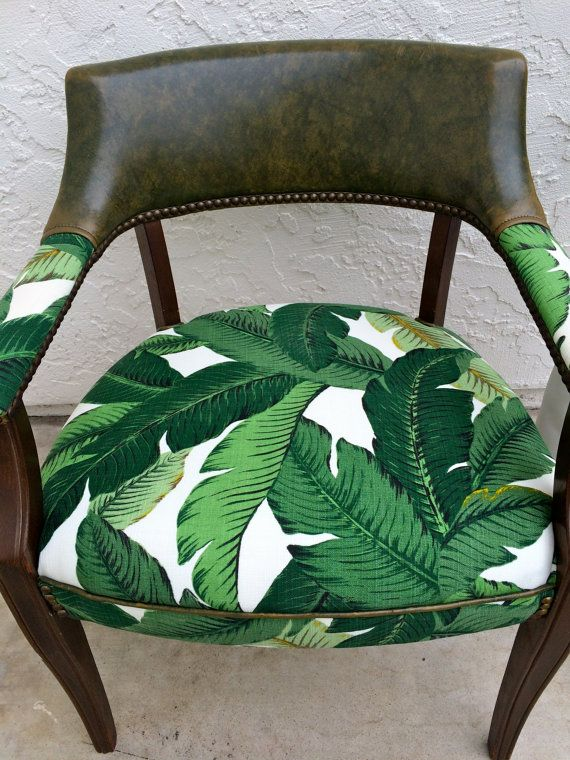 50's Palm Leaf Upholstered Chair // Office Chair // Accent