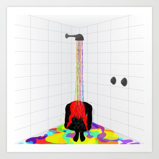 rainbow shower, bath, colors, new life